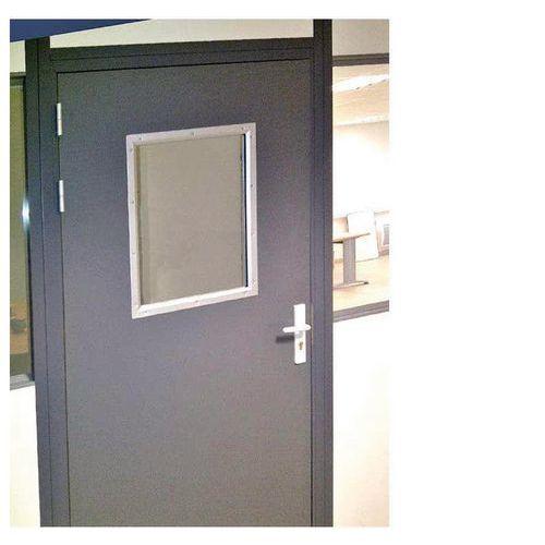 Puerta corredera para cerramientos de taller de chapa de acero o con melamina- Panel semiacristalado - Altura