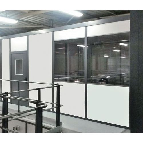 Cerramiento de tabique doble de melamina - Panel semiacristalado (esp. 4 mm) - Altura 2,50 m