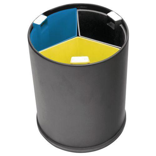 Papelera de oficina 3 compartimentos - Cubos de colores - 13 L