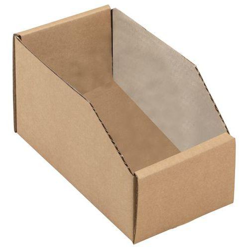 Caja con abertura frontal, de cartón Kraft marrón - Longitud 200 mm