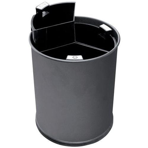 Papelera de oficina 3 compartimentos - Cubos negros -13 L