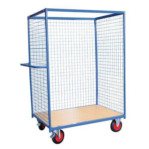 Carro auxiliar de madera - 3 paredes de rejilla - Carga 500 kg