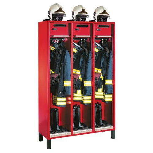 Vestuario bomberos S 3000 Évolo - 1 a 3 columnas ancho 400 mm - Con patas