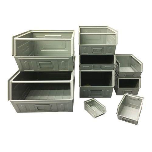 Caja con abertura frontal metálica - Modelo lacado gris - Longitud de 160 a 350 mm