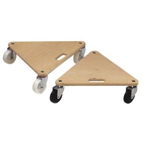 Plataforma rodante de madera triangular - Acabado en bruto - Cargas 225 y 300 kg