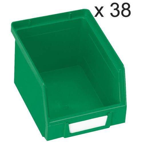 Lote de 38 cajas abertura frontal Kangourou - Largo 240 mm - 3,5 L - Manutan