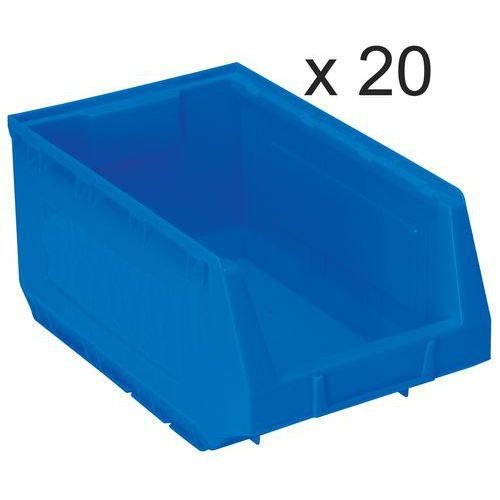 Lote de 20 cajas abertura frontal Kangourou - Largo 345 mm - 10 L - Manutan