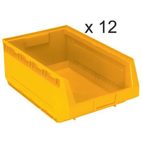 Lote de 12 cajas abertura frontal Kangourou - Largo 485 mm - 30 L - Manutan