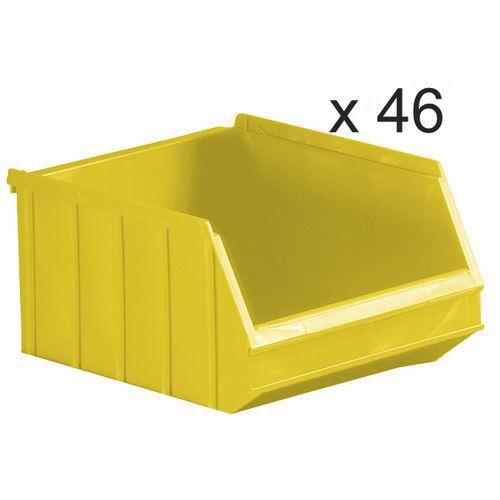 Cajas abertura frontal apilables - Longitud 250 mm - 6 L - Lote de 46