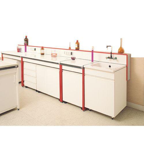 Mesa de laboratorio modular - Vidrio esmaltado - Con respaldo