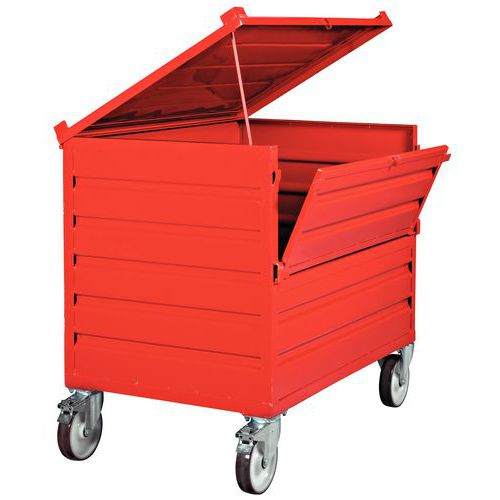 Caja palé plegable apilable - Pared maciza - Con tapa y pared abatible - Sobre ruedas
