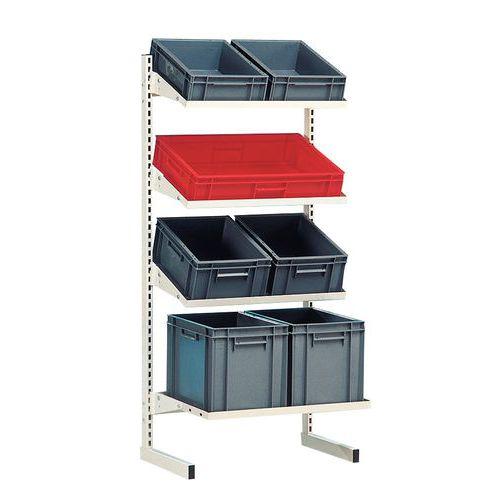 Estante Flexi-Bac com prateleira inclinável para caixas norma Europeia  - Elemento inicial