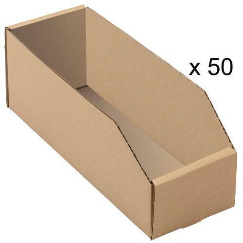 Caja con abertura frontal, de cartón Kraft marrón - Longitud 300 mm
