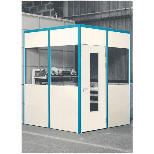 Puerta batiente para cerramientos de taller de melamina - Panel semiacristalado - Altura 3,01 m