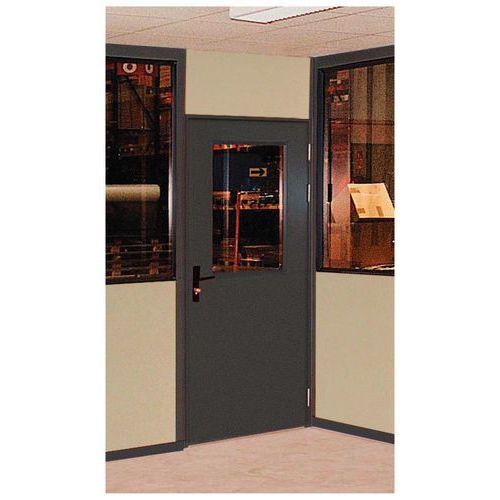 Puerta batiente para cerramientos de taller de chapa de acero o melamina - Panel semiacristalado - Altura 3 m