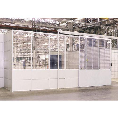 Puerta corredera para cerramiento de taller en chapa de acero - Panel macizo - Altura 2,51 m