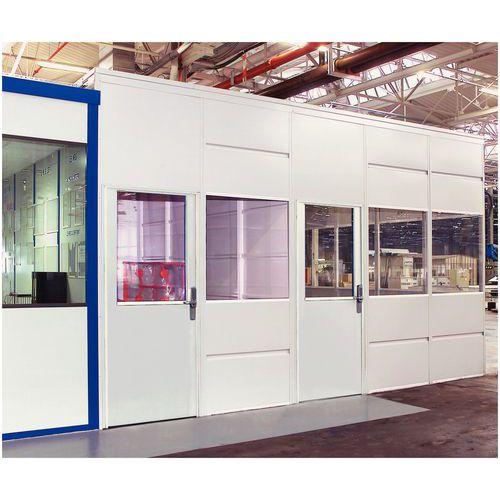 Cerramiento de tabique simple en chapa de acero - Panel acristalado - Altura 3,01 m
