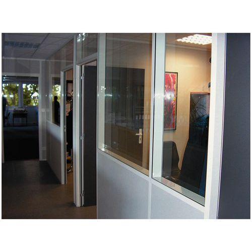 Cerramiento de tabique doble de chapa de acero melaminado - Panel acristalado (8 mm) - Altura 2,50 m