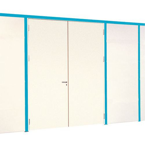 Puerta batiente para cerramientos de taller de melamina - Panel macizo - Altura 2,51 m