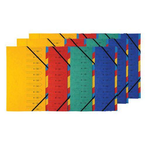 Clasificador con grapas elástico de 7 compartimentos - Colores surtidos