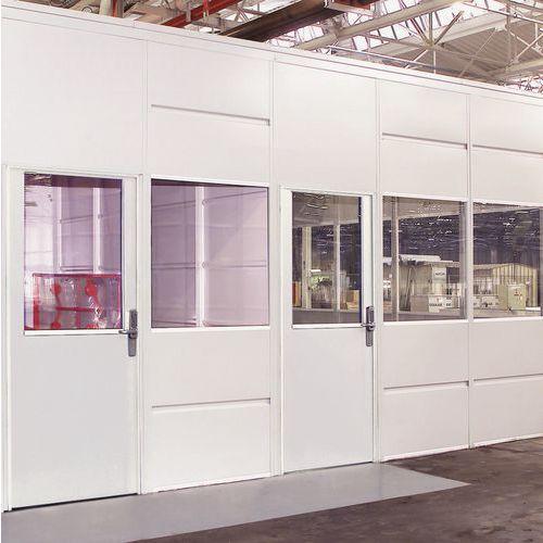 Puerta corredera para cerramientos de taller de chapa de acero - Panel acristalado - Altura 3,01 m