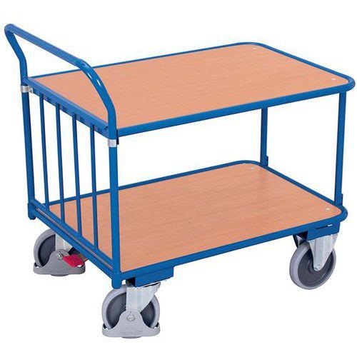 Carro ergonómico con 2 bandejas de madera - Barra vertical - Capacidad 400 kg