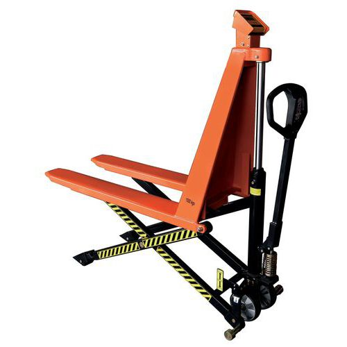 Transpaleta manual pesadora de alta elevación - Capacidad de 1000 kg