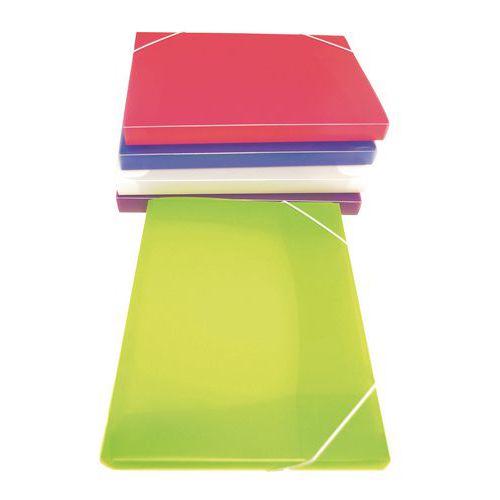 Funda con elásticos de gran capacidad con 3 solapas - Colores surtidos - Lote de 5