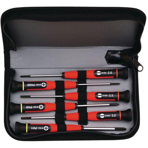 Estuche de destornilladores de precisión - 6 destornilladores pequeños