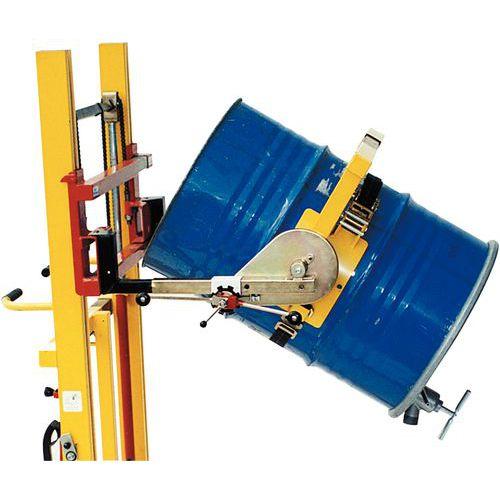 Volteador de barriles para carretilla elevadora - Capacidad de carga de 300 y 600 kg