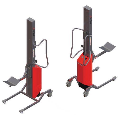 Apiladora Moovit con soporte con rodillo y plataforma en V - Capacidad 80 kg