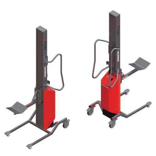Apiladora Moovit con soporte con rodillo y plataforma en V - Capacidad 150 kg
