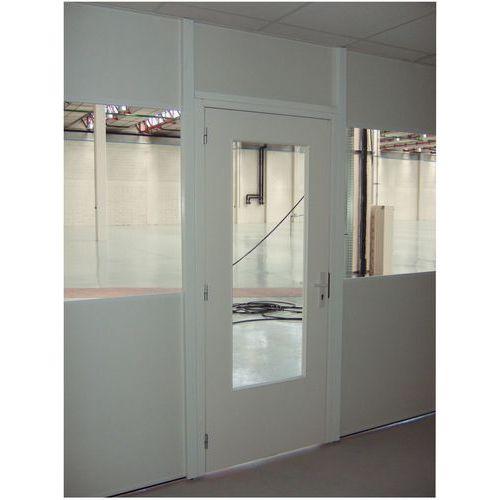 Puerta batiente para cerramiento de taller de melamina - Panel macizo - Altura 2,53 m