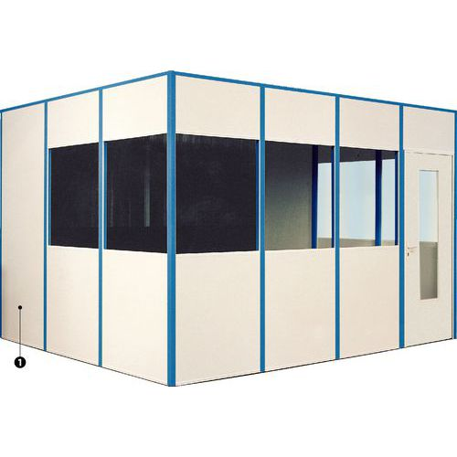 Cabina con tabique simple melaminado 4 lados - Para montar - Puerta batiente