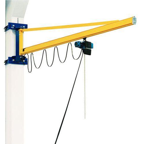 Grúa de pared con pluma triangular + polipasto DC- Capacidad de 80 a 500 kg