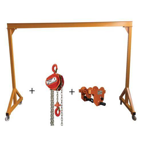 Pack de pórtico de taller + carro + polipasto - Capacidad 1000 kg