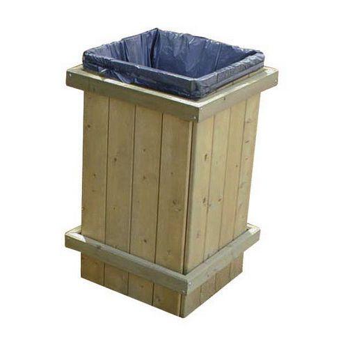 Papelera de exterior de madera - 100 L