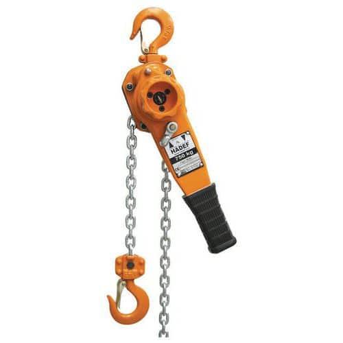 Polipasto manual de cadena a palanca - Capacidad de 750 a 6000kg - Elevación 1,5m