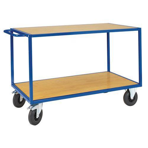 Carro con bandejas de madera - 2 niveles - Carga 500 kg