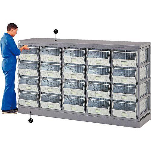 Base y superficie de trabajo para bastidores de almacenamiento para cajas y recipientes