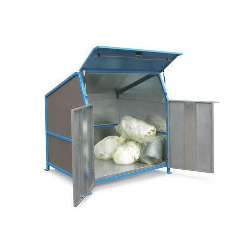 Marquesina para contenedores de residuos Secomat - 3 tabiques, puertas y suelo