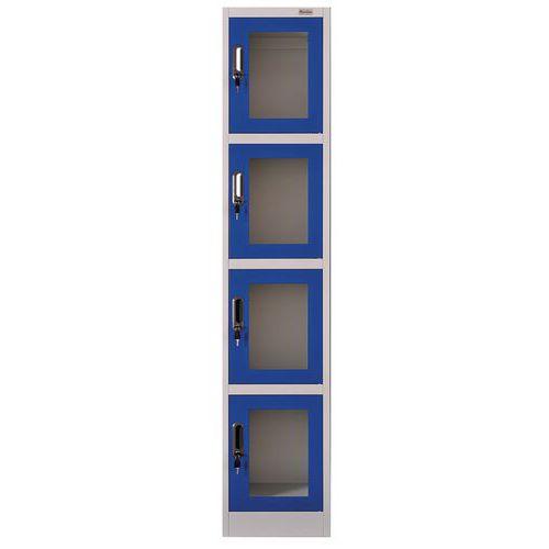 Taquilla puerta transparente, 4 compartimentos - Manutan