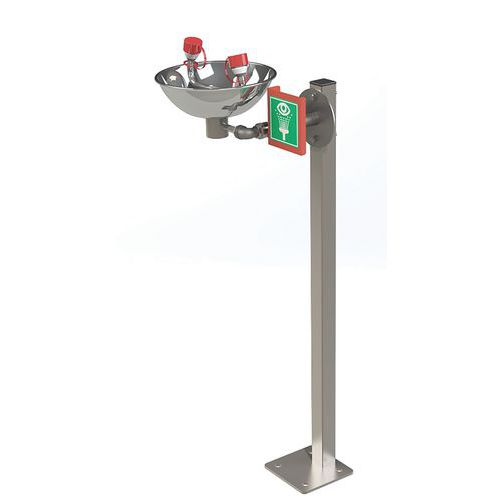 Estación de lavado de ojos sobre base - Cubeta inoxidable con pedal - Hughes