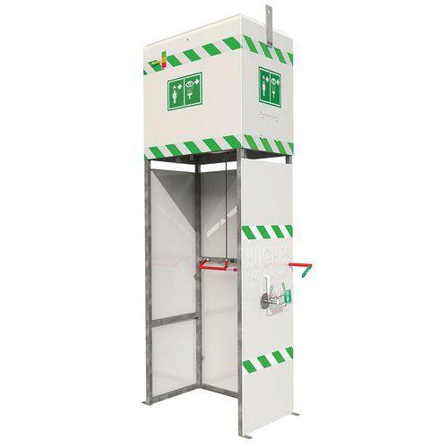 Ducha y estación de lavado de ojos combinado con depósito - Para exterior