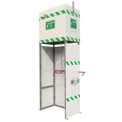 Ducha y estación de lavado de ojos combinada con depósito sin calefacción - Para exterior o interior
