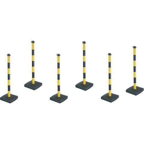 Poste para cadena con base de PVC - Lote de 6