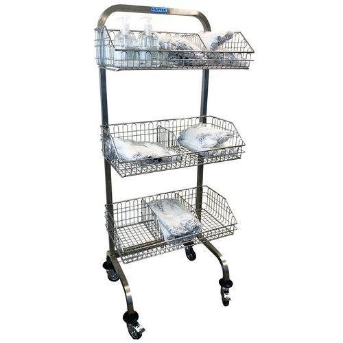 Carro médico de acero inoxidable con cestas - Con separador