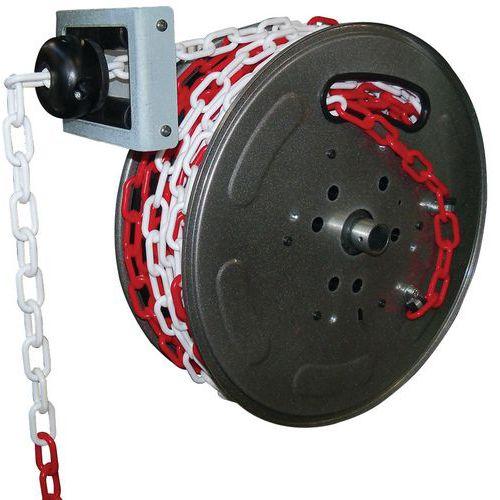 Enrollador de cadena de señalización de color rojo y blanco - 20m - Câble Équipements